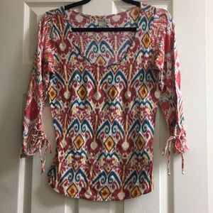Lucky brand Boho sinched sleeved top